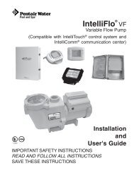 Intelliflo VF Installation / Owners Manual - Pool Center