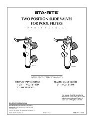 two position slide valves for pool filters - Pentair