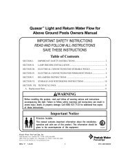 Quasar™ Light and Return Water Flow for Above Ground ... - Pentair