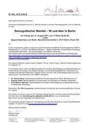 Demografischer Wandel – 50 und älter in Berlin - AlSoPfleg 2012