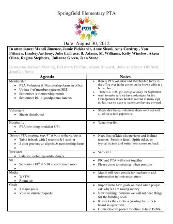 September Pta Agenda  Waterville Valley Elementary School
