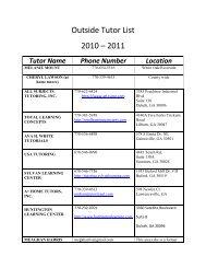 Outside Tutor List 2010 – 2011