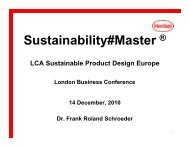 Sustainability#Master - LCA Sustainable Product Design Europe 2010