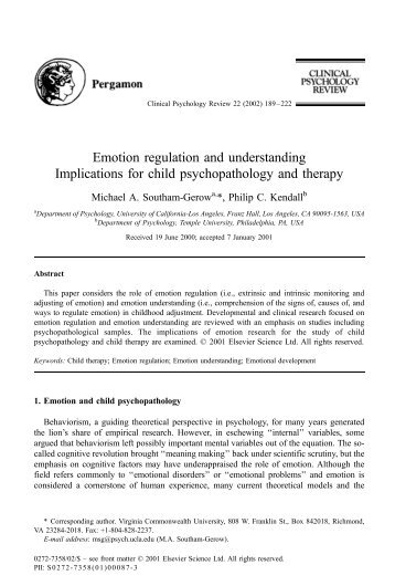Emotion regulation and understanding Implications for child ...