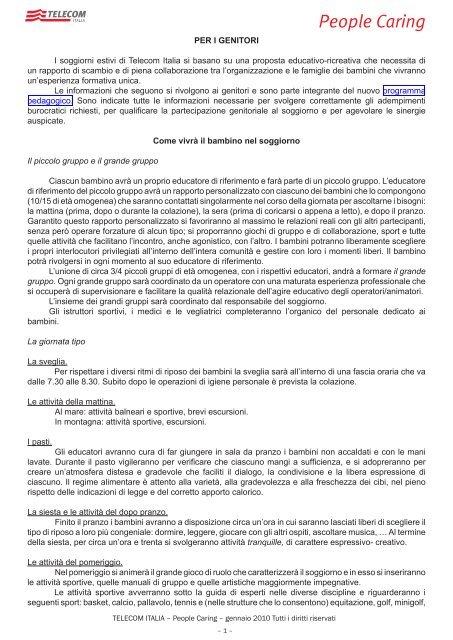 nota informativa - Peoplecaring.telecomitalia.it - Telecom Italia