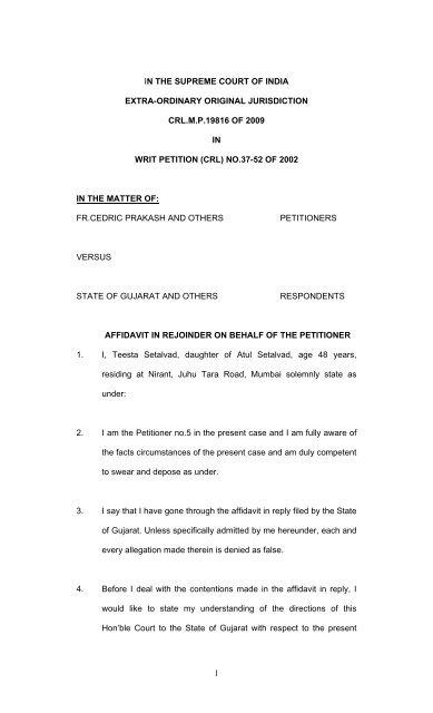 Rejoinder Affidavit filed by Teesta Setalvad on 22