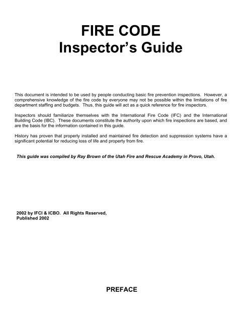 FIRE CODE Inspector S Guide