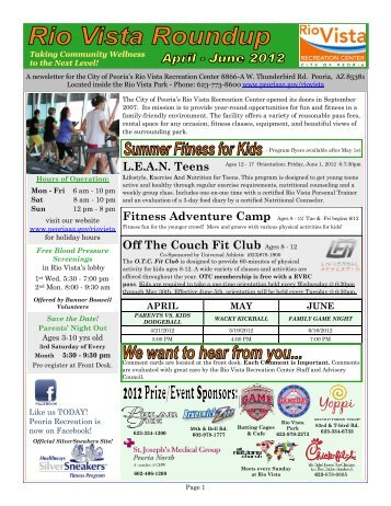 Off The Couch Fit Club Ages 8 - 12 L.E.A.N. Teens - City of Peoria ...
