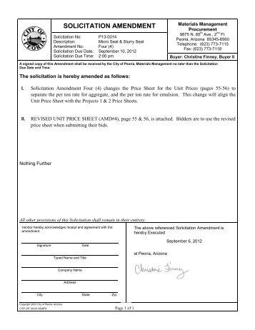 SOLICITATION AMENDMENT - City of Peoria, Arizona