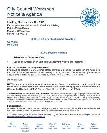 City Council Workshop Notice & Agenda - City of Peoria, Arizona
