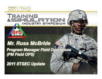 Mr. Russ McBride - PEO STRI - U.S. Army