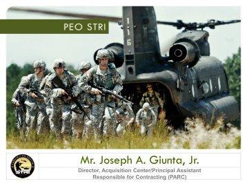Mr. Joe Giunta - PEO STRI - U.S. Army