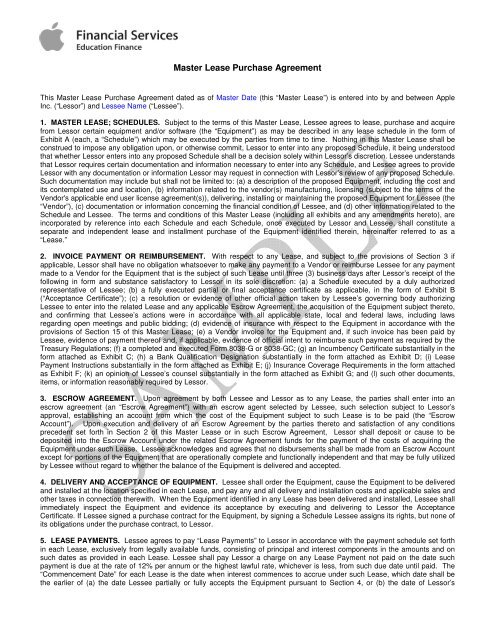 Master Lease Purchase Agreement Peppm