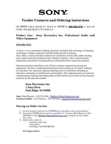 Vendor Contacts and Ordering Instructions - Peppm