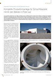 Komplette Produktionsanlage für Schachtbauteile nimmt den Betrieb ...
