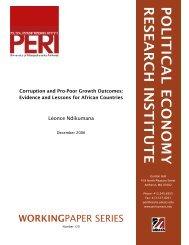 POLITICAL ECONOMY RESEARCH INSTITUTE - PERI - University ...
