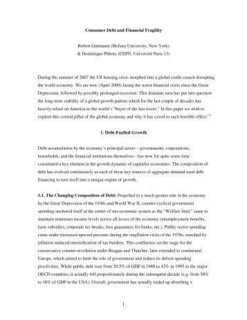 1 Consumer Debt and Financial Fragility Robert Guttmann ... - PERI