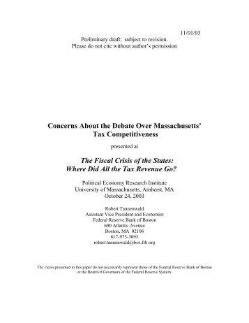 Tax Competitiveness - PERI - University of Massachusetts Amherst