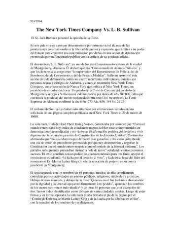 The New York Times Company Vs. L. B. Sullivan - Catedras
