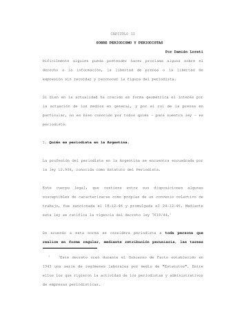 """""""Sobre periodismo y periodistas""""; Damián Loreti - Facultad de ..."""