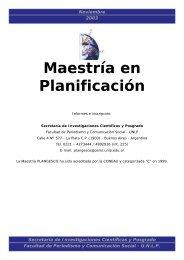 Maestría en Planificación - Facultad de Periodismo y Comunicación ...