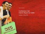 Conference Call Interim Report Q1 2005 - Deutsche EuroShop
