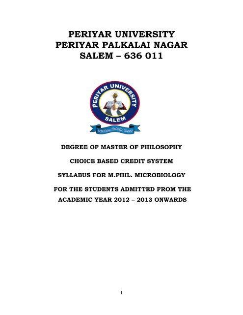 Microbiology - Periyar University