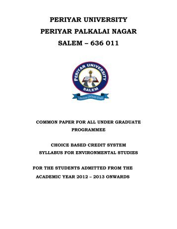 Common Paper for all UG Programmes - Periyar University