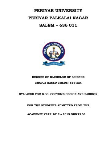 B.Sc. Costume Design and Fashion - Periyar University