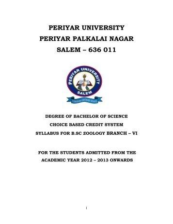 B.Sc. Zoology - Periyar University