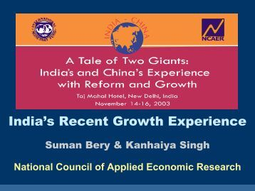 India's Recent Growth Experience, presentation by Suman ... - IMF