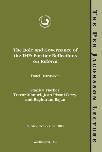 The Role and Governance of the IMF: Further Reflections on Reform ...