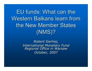 What can the Western Balkans learn from the New Member ... - IMF