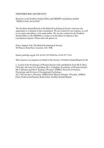 British Psychological Society (PDF 116 KB) - Department of Health ...