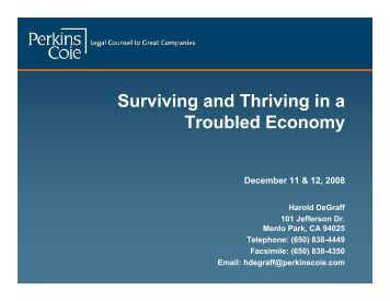 Surviving and Thriving in a Troubled Economy - Perkins Coie