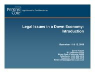 Legal Issues in a Down Economy: Introduction - Perkins Coie