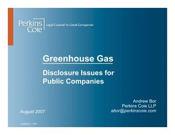 Greenhouse Gas: Disclosure Issues for Public ... - Perkins Coie