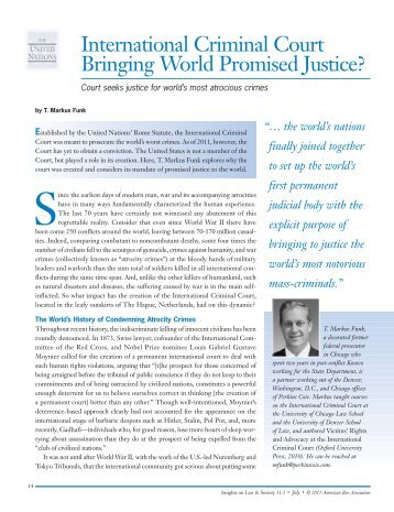 International Criminal Court Bringing World Promised ... - Perkins Coie