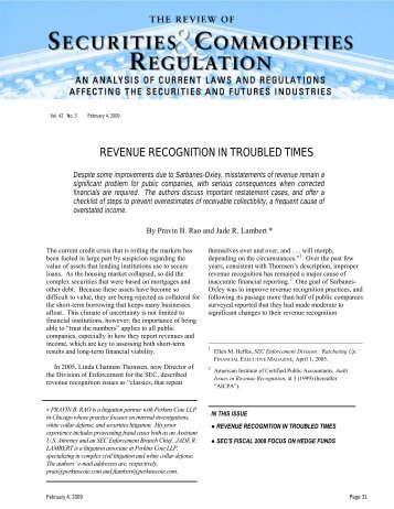 Revenue Recognition in Troubled Times - Perkins Coie