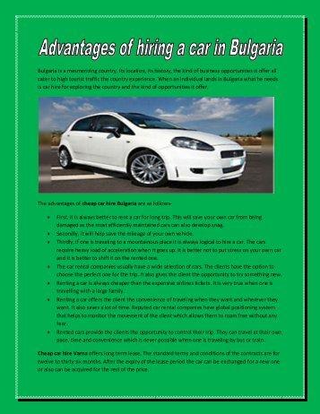 Advantages of hiring a car in Bulgaria