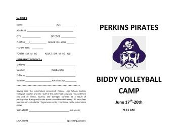 Biddy Volleyball Camp - Perkins Local Schools