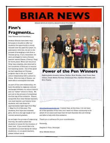 Briar March Newsletter - Perkins Local Schools