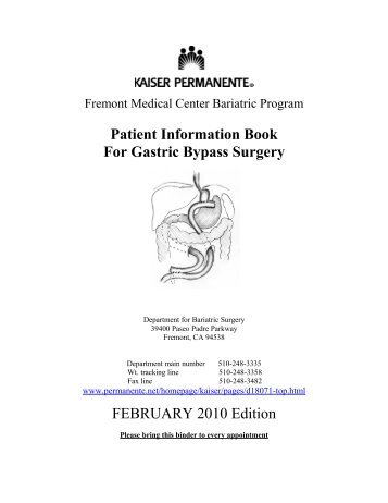 Patient Information Book For Gastric Bypass Surgery - permanente.net