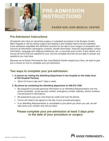 Pre-Admission Instructions English - permanente.net