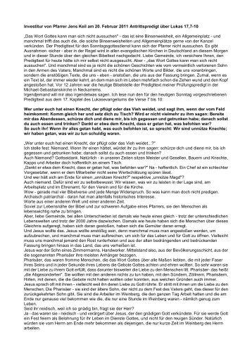 Investitur von Pfarrer Jens Keil am 20. Februar 2011 Antrittspredigt ...