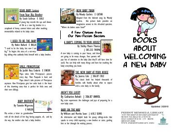 Books About Welcoming a New Baby - Perrot Memorial Library
