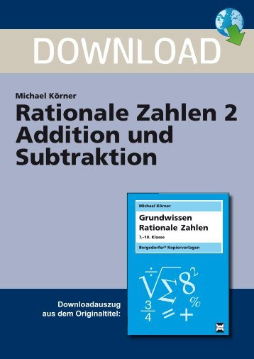 Rationale Zahlen 2 Addition und Subtraktion - Persen Verlag