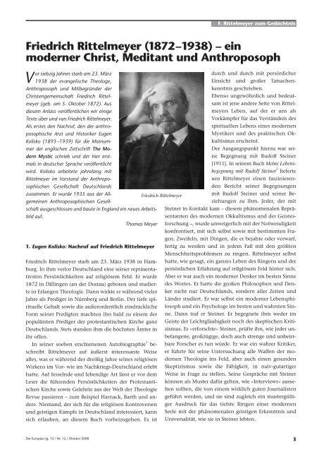Friedrich Rittelmeyer (1872–1938) – ein moderner Christ, Meditant ...
