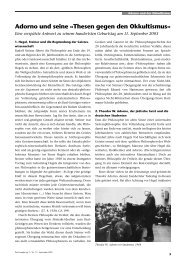 Adorno und seine «Thesen gegen den Okkultismus»