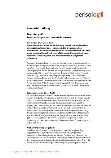 Pre esse-Mit tteilung - Persolog GmbH